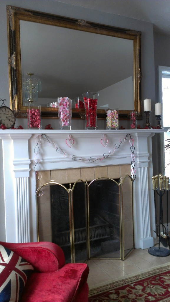 Valentine's Day Candy, Shiny Glass Vases and Paper Garland: $19